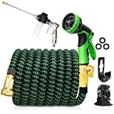 """Upgraded Expandable Garden Hose, 25 FT, 3/4"""" Solid Brass Connectors, 10 Function Spray Hose Nozzle, Leak Proof and Lightweigh"""
