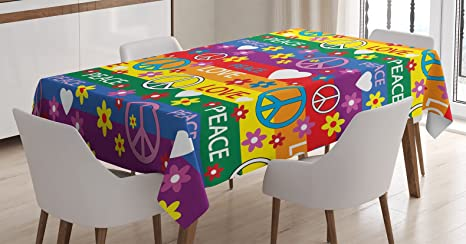 Amazon Com Ambesonne Groovy Decorations Tablecloth Heart Peace