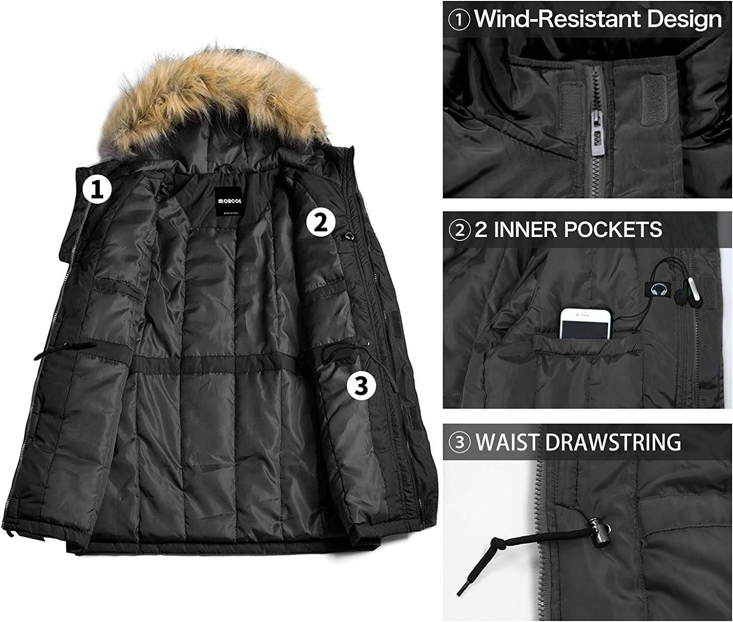 MORCOE Men/'s Winter Puffer Coat Casual Outerwear Thicken Parka Windproof Outdoor Jacket with Faux Fur Hood