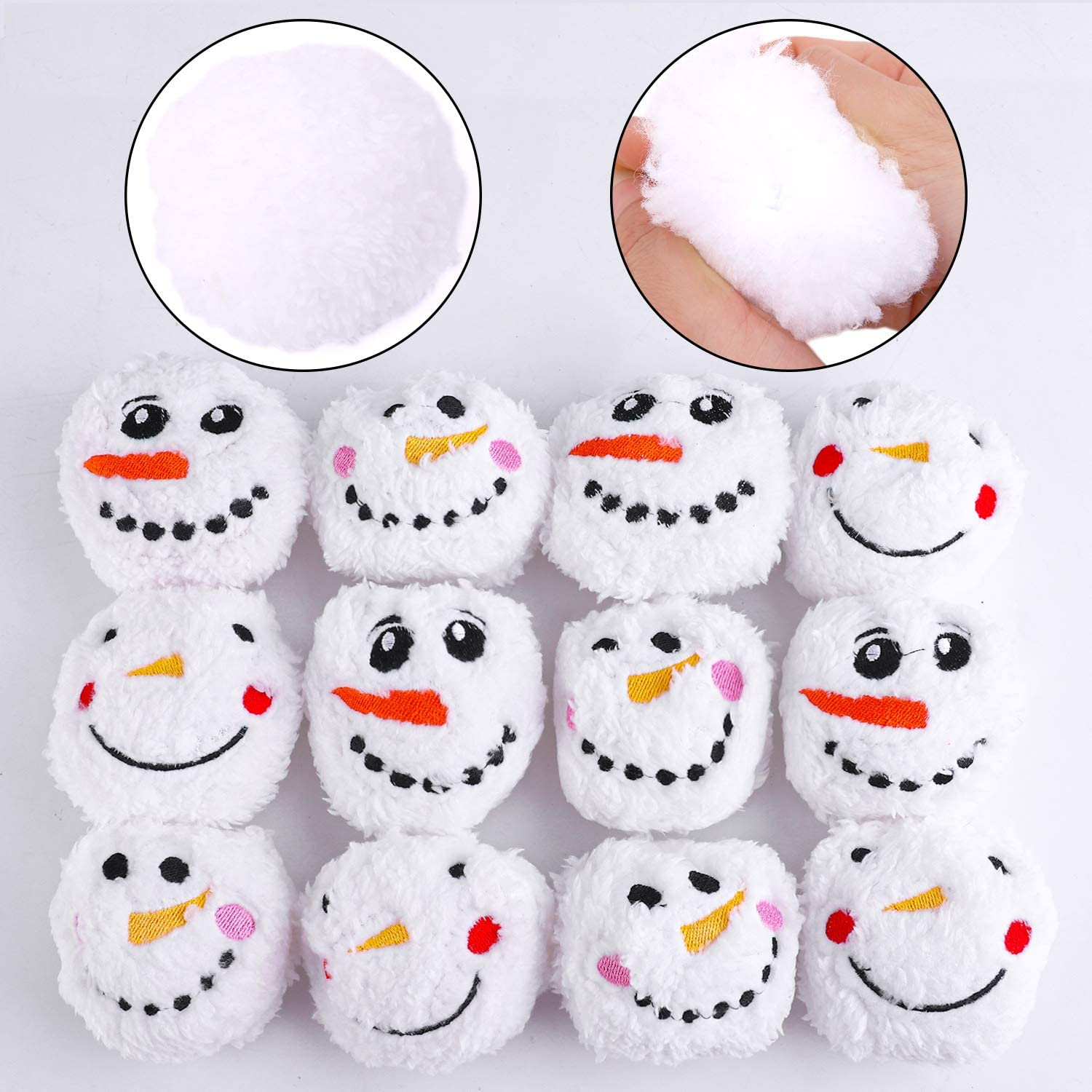 Aneco 12 Pack Snowball Fight Snowball Fun Set Plush Snowmen Balls with A Bag Realistic for Winter Game