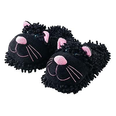 Kids Fuzzy Friends Black Cat Slipper, Small, Black