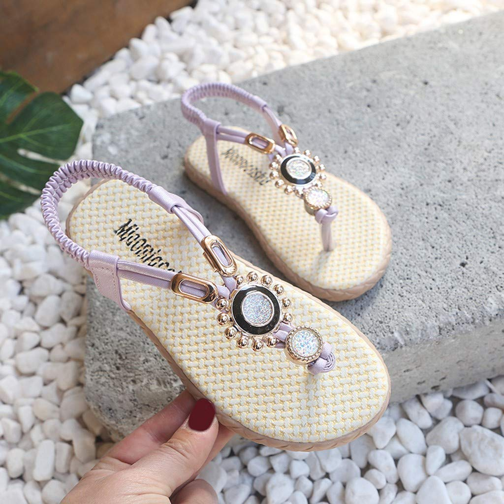 RAINED-Kids Girls Bohemia Crystal Beach Priness Sandals Thongs Flip Flop Shoes Sweet Beaded Shoes Roma Sandals