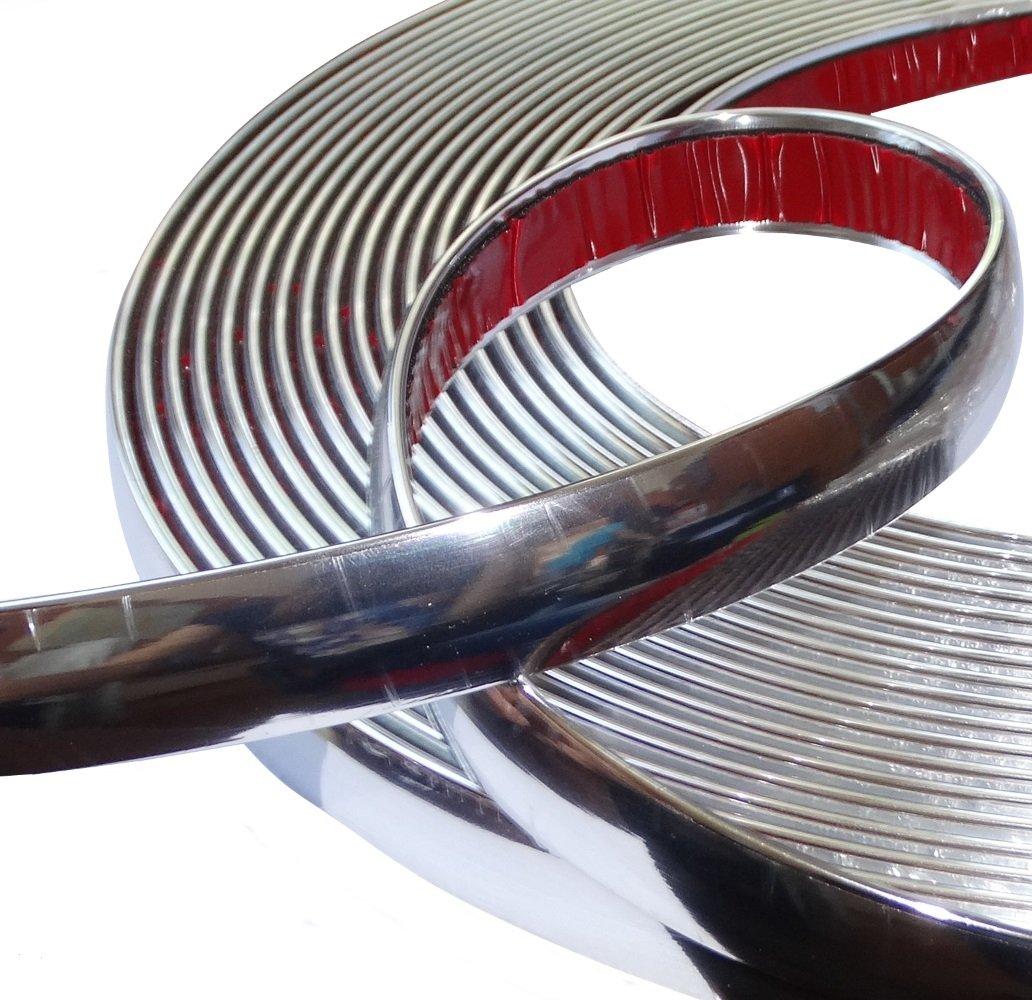 Aerzetix: 20mm 4.5m Bande baguette adhé sive couleur chrome nickel argent SK2-C12421-AB15