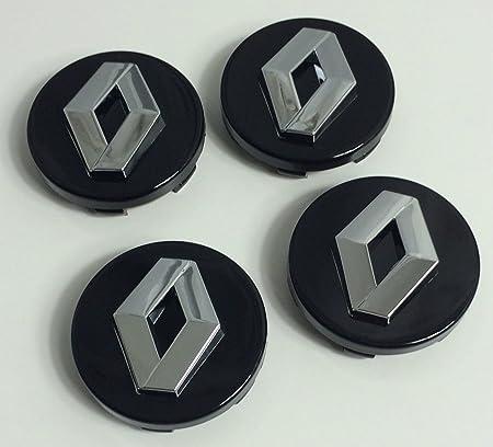 Image of4x 60mm Alloy Wheel Buje Center Caps Renault Negro Chrome Logo Juego cuatro