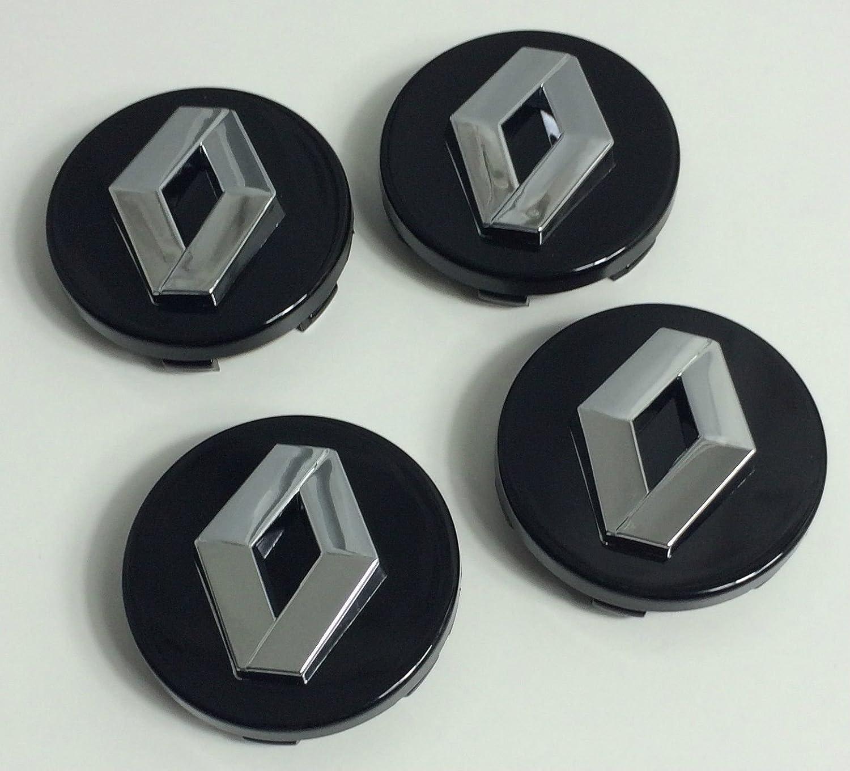 4 x 60 mm Alloy Wheel Buje Center Caps Renault Negro Chrome Logo Juego cuatro: Amazon.es: Coche y moto
