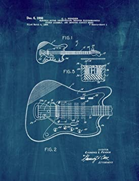 101801aa5af93 Clarence Fender Guitare électrique Patent Impression Art Poster Bleu ...