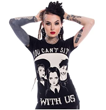 92a0e81839 Heartless Wednesday Addams Family Sit With Us Tee Punk Goth Cotton Top  T-Shirt -