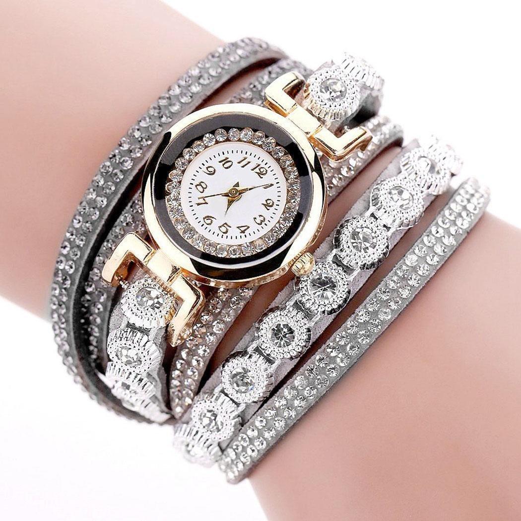 Jingjing1 Rhinestone Bracelet Watch Women Analog Fashion Casual Wrist Watche (Grey)