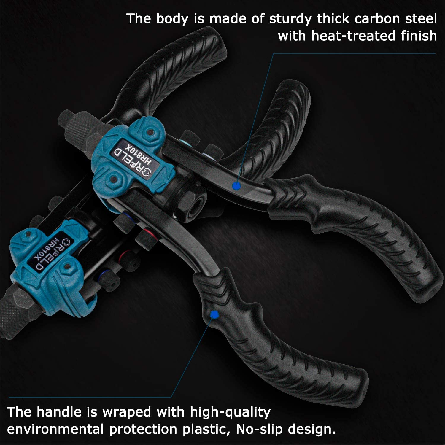 5 in 1 Hand Riveter. 11inch Heavy Duty Rivet Tool with 5 Replaceable Nosepieces 50pcs Rivets ORFELD Hand Rivet Gun