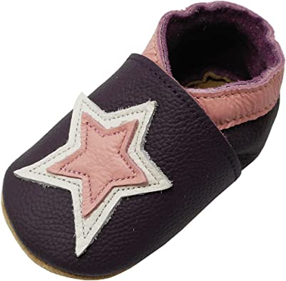 6-12 NEW SOFT LEATHER BABY SHOES // SLIPPERS 0-6 VIOLETS 12-18 /& 18-24 Months