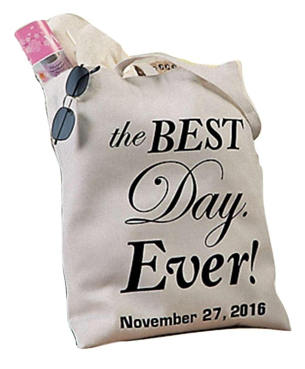 Personalized Best Day Ever Wedding Canvas Tote - Customize with Names and/or Date - Great Gift