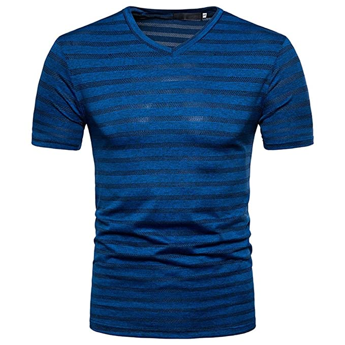 6c7387f12 Challyhope Men's Summer Tee Fashion Casual Stripe Print V Neck Pullover T-Shirt  Tops (