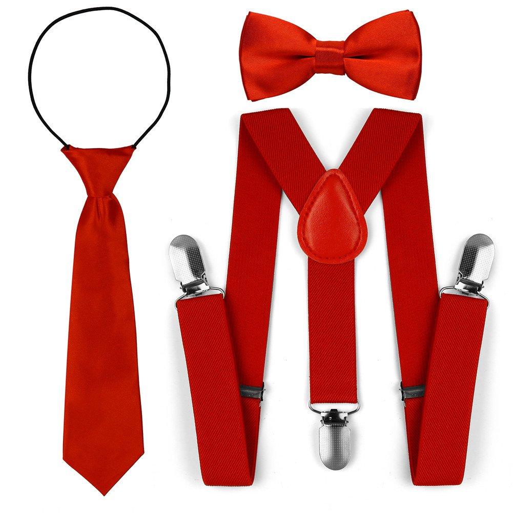 Bretelles réglables de mode élastique d'enfant en bas âge de noeud papillon cravate ensemble