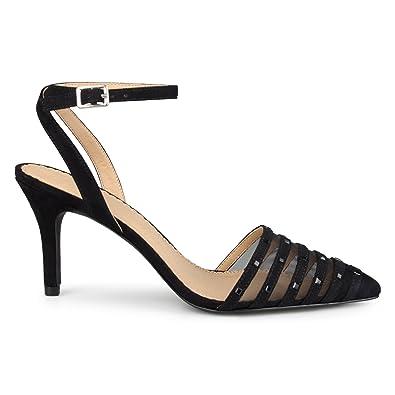 b9105dde7f04 Womens Faux Suede Rhinestone Pointed Toe Ankle-Strap Heels Black
