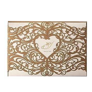 Amazon Com Wishmade 50pcs Gold Laser Cut Wedding Invitations Cards