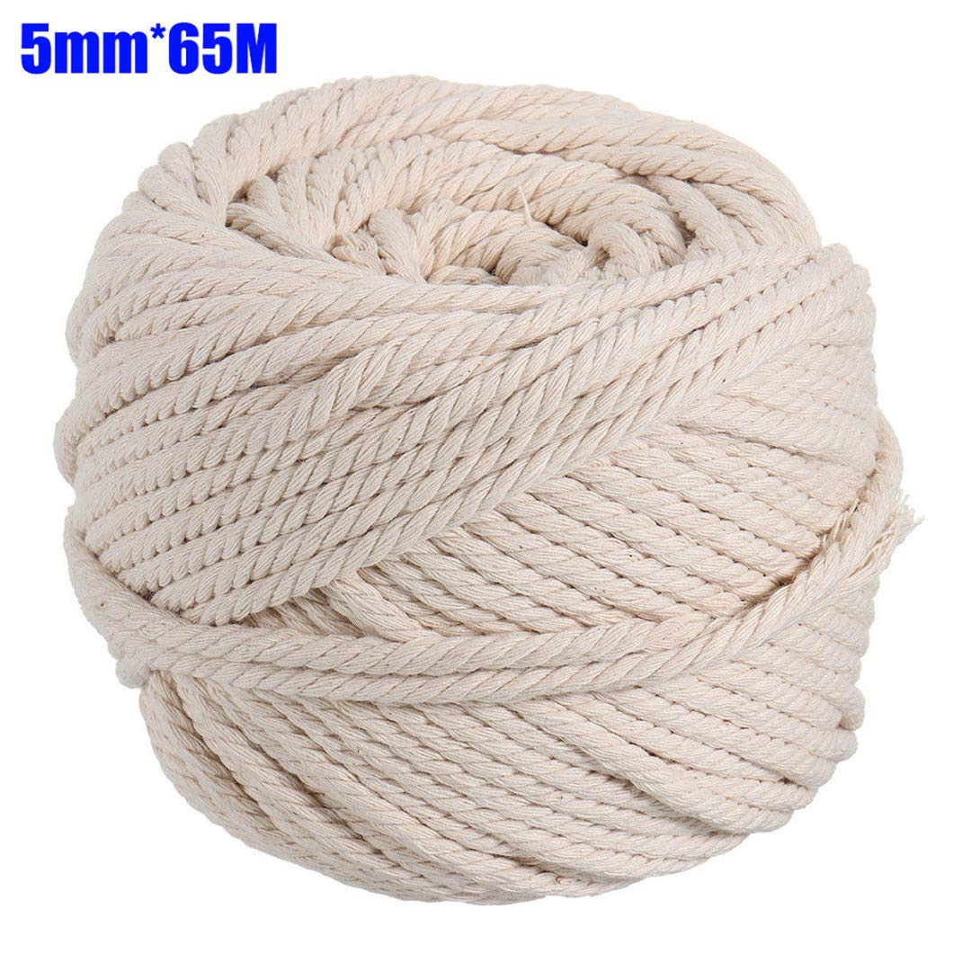 FINCOS 4 Sizes 2/3/4/5/6mm Cotton Beige Macrame String Rope Natural Twisted Cord Artisan Hand Craft DIY Handmade Home Decorative - (Color: 6mm 50M)