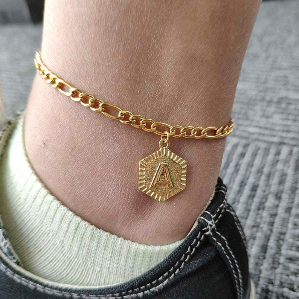 Guardian Angel Personalised Any Initial Letter Charm Flower Ankle Bracelet Gift