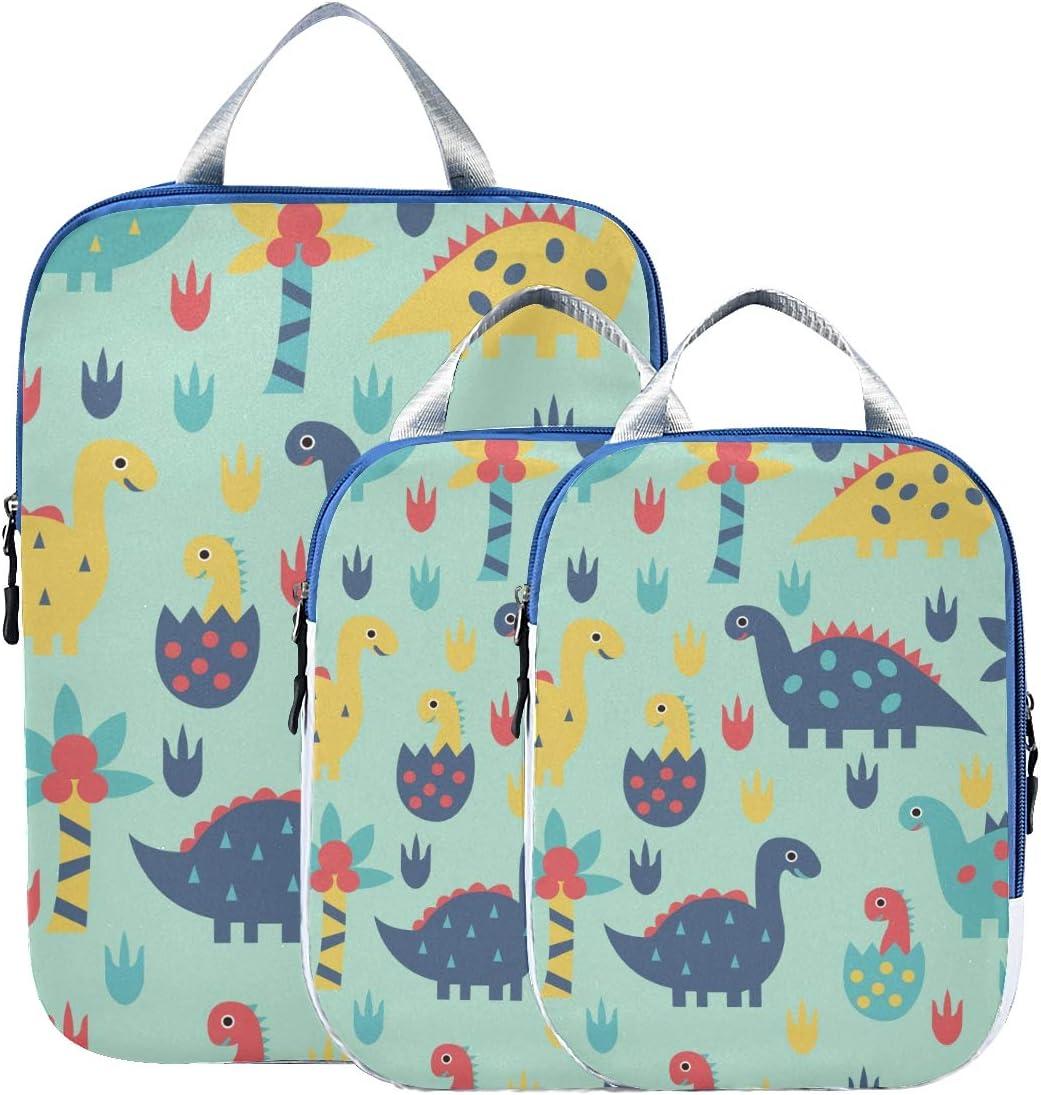 k Dinosaur Worlds 3 Set Packing Cubes,2 Various Sizes Travel Luggage Packing Organizers