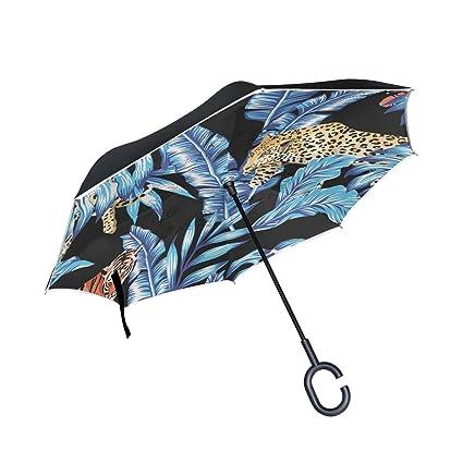 Mnsruu Paraguas invertido de Doble Capa Azul con Hojas de plátano y Leopardo, protección UV