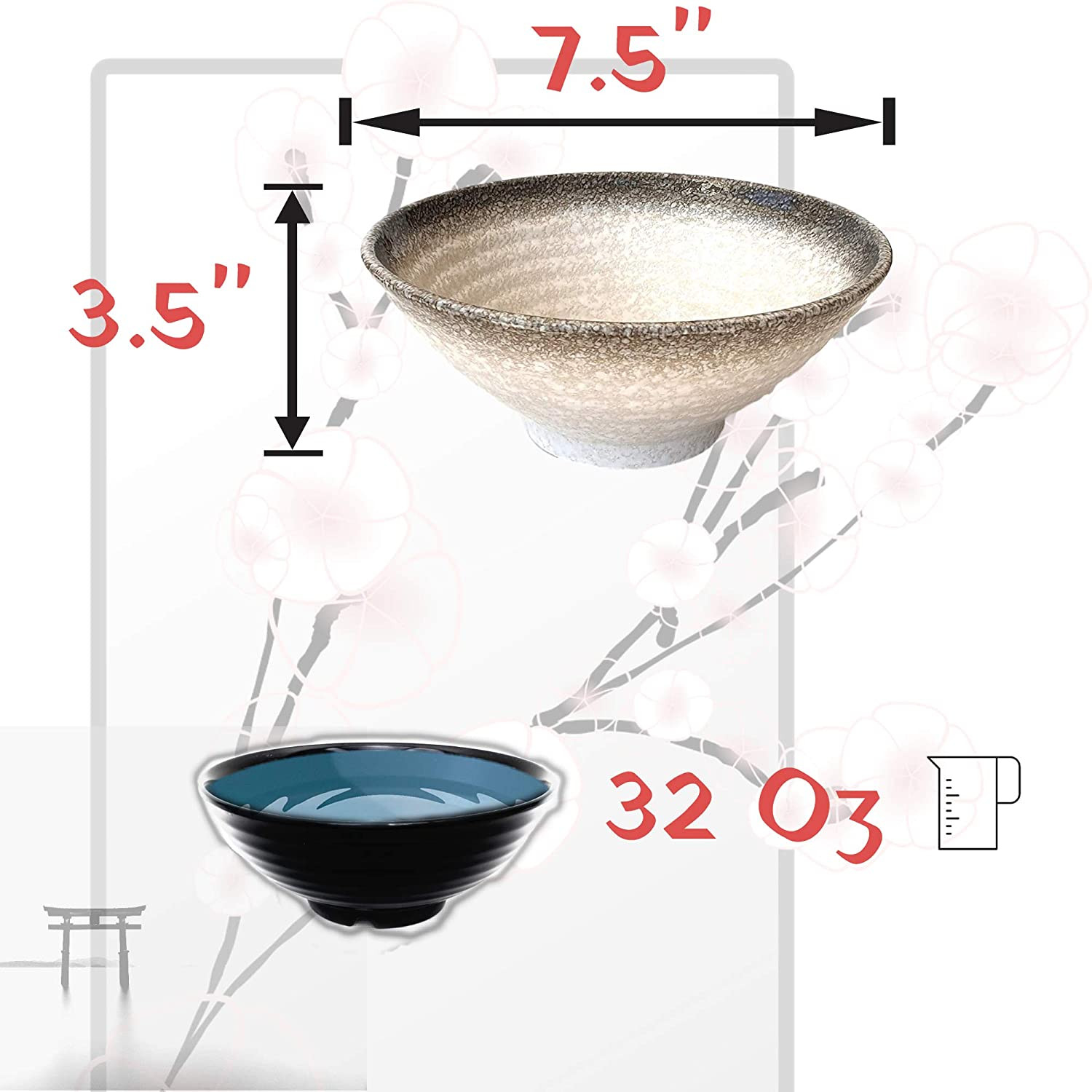 Noodle Udon 10 Pieces Large 32 Ounces for Noodles Thai Dinnerware for Any Soup Meal Ceramic Ramen Bowl Set Pho Bowls Asian Japanese With Spoons Chopsticks and Stands 2 Set