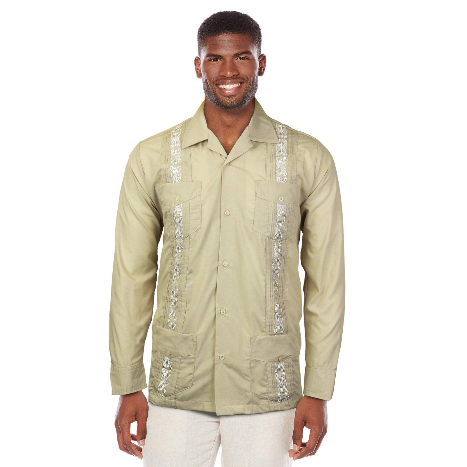 Maximos USA Guayabera Men's Cuban Beach Wedding Long Sleeve Button-up Casual Dress Shirt (Beige, Large)