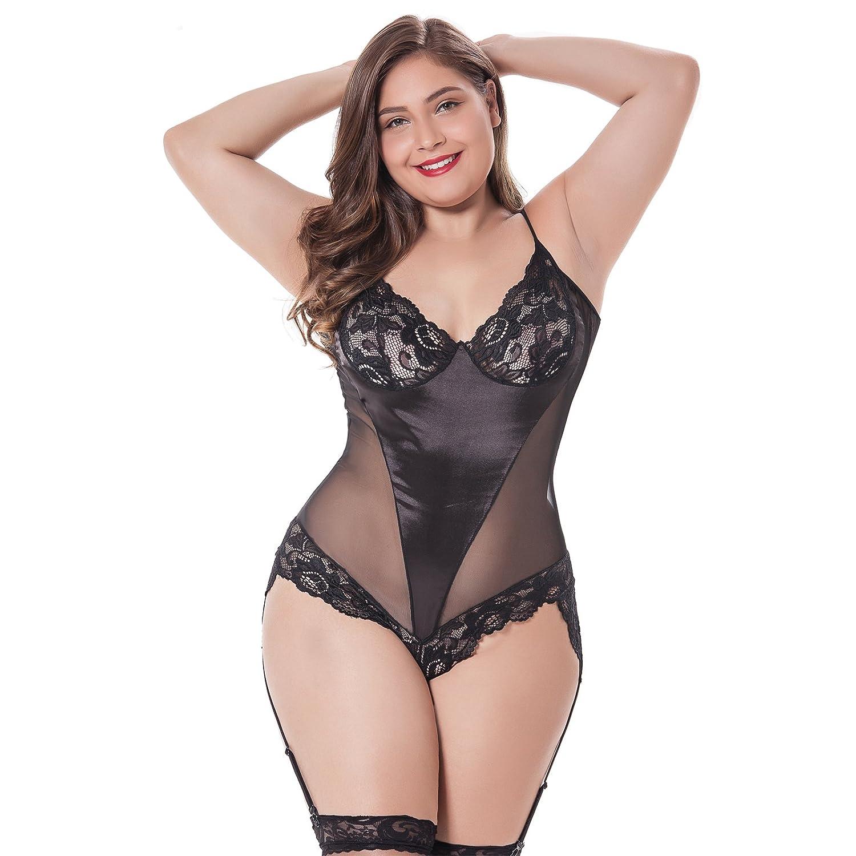 11204ac03f JYVIN Plus Size Lace Teddy Black Sexy Lingerie Chemise Sets Babydoll  Bodysuit  Amazon.co.uk  Clothing