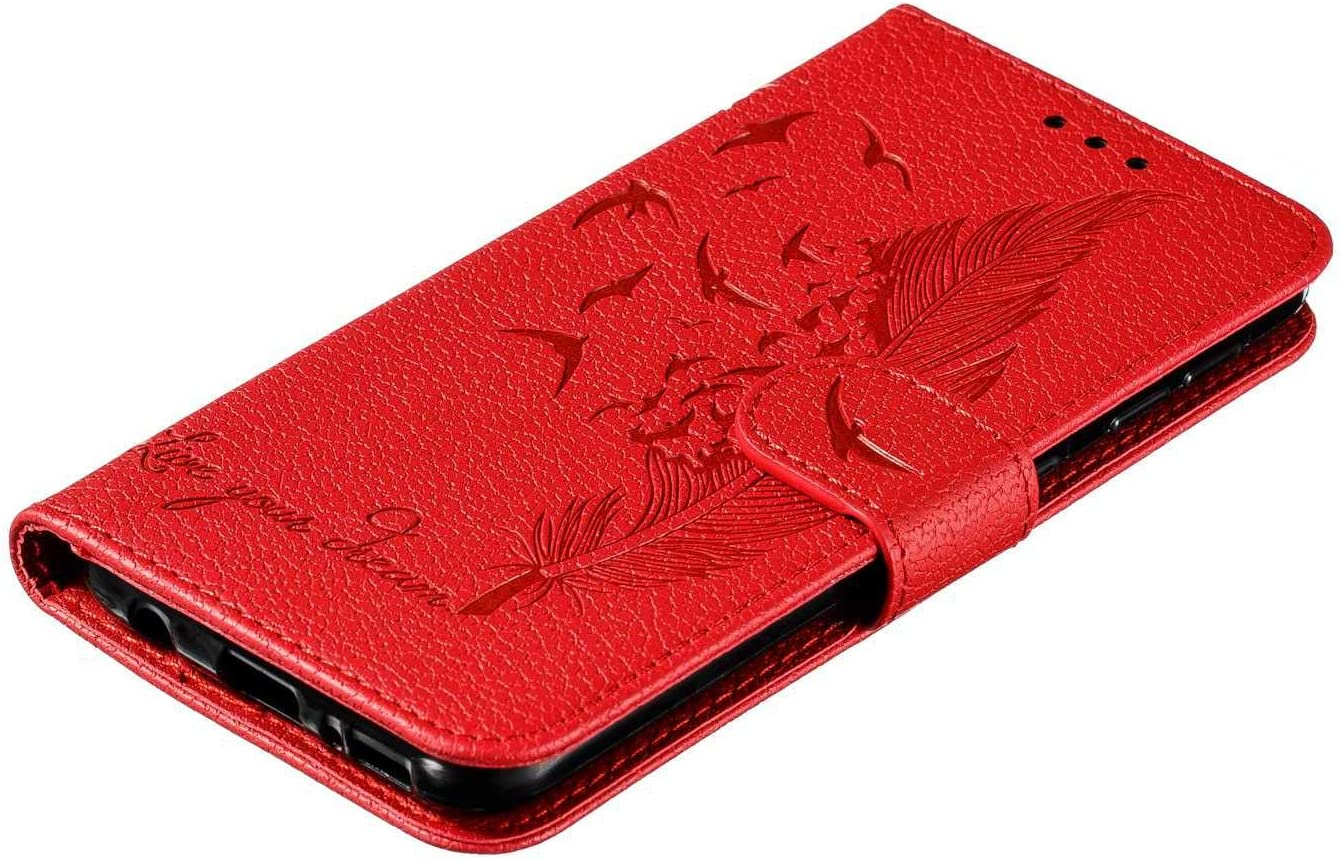 PU et lint/érieur de Flexible Silicone Bear Village/® /Étui en Cuir Rouge Coque avec Fonction de Support Coque pour Samsung Galaxy A20e