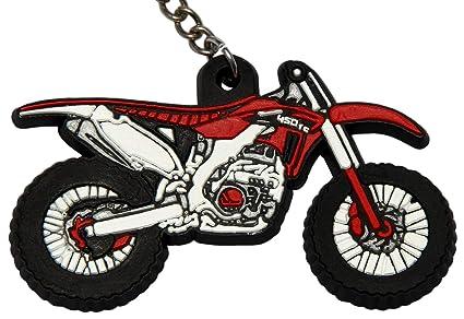Llavero Key Ring Moto Rojo Offroad Motocross de Caucho Goma ...