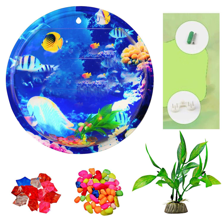 Acrylic Fish Bowl,Wall Hanging Aquarium Tank Aquatic Pet Supplies,Wall Mount Fish Tank for Betta Fish,Gallon Fish Tank Decoration by WXJHA