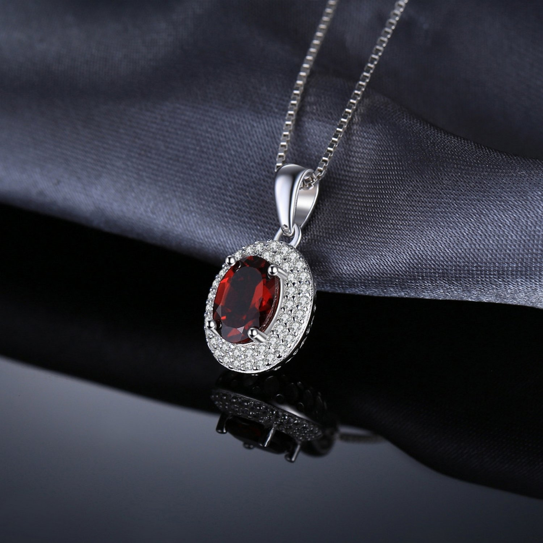 MMC 1.9ct Red Garnet Silver Pendants Necklaces