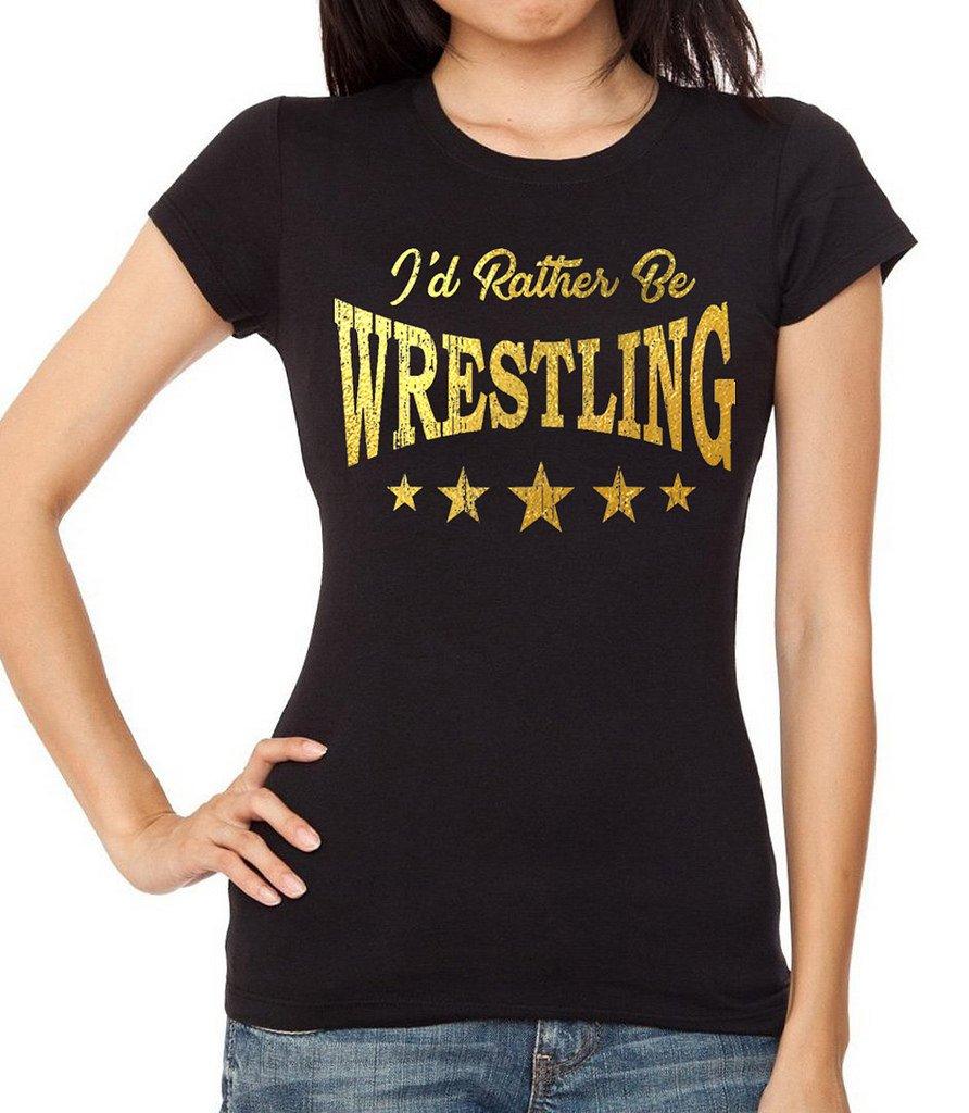 Interstate Apparel Inc Junior's Gold Foil I'd Rather Be Wrestling Black T-Shirt Large Black