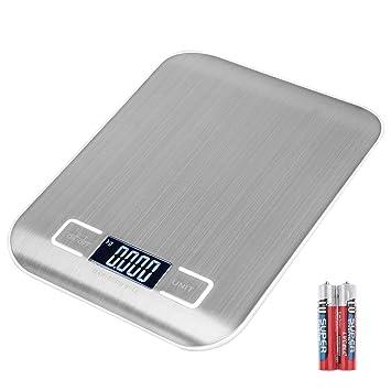 luluyuki Mini báscula Digital de cocina de acero inoxidable antihuellas 11 LB/5kg, alimentos