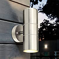 Nrpfell Stainless Steel Up Down Wall Light GU10 IP65 Double Outdoor Wall Light
