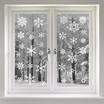 VEYLIN Static Snow Flakes Stickers Snowflakes Window Clings For - Window stickers amazon uk