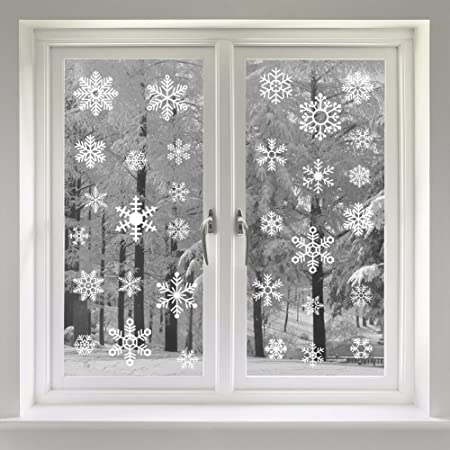 Veylin 48 static snow flakes stickers snowflakes window clings for christmas window display static pvc