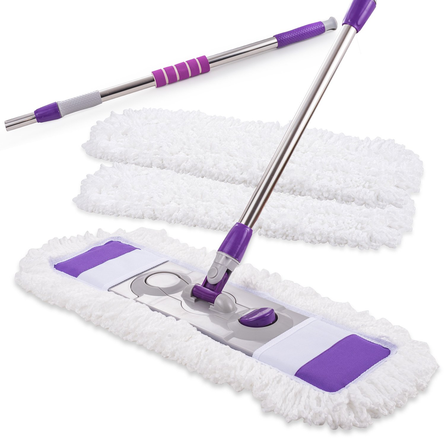 Microfiber Hardwood Floor Mop Kit with 3 Reusable Washable Pads, 360 Degree Professional Handle Flat Mop for Wet and Dry Wood Floor Cleaning, Kitchen, Bathroom, Home, Office, Hardwood, Laminate, Tiles