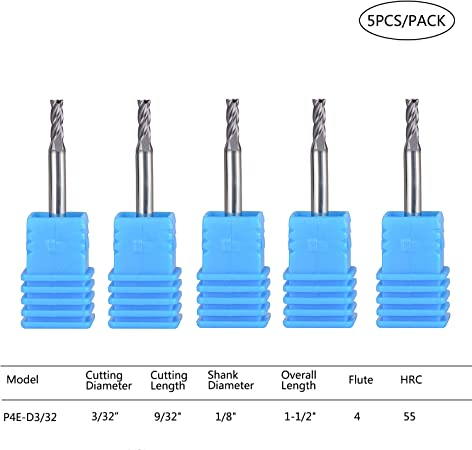 End Mill CNC Bits 1//8 shank Flat Nose 2 Flute TiAIN Coated 3//32 Cutting Diameter