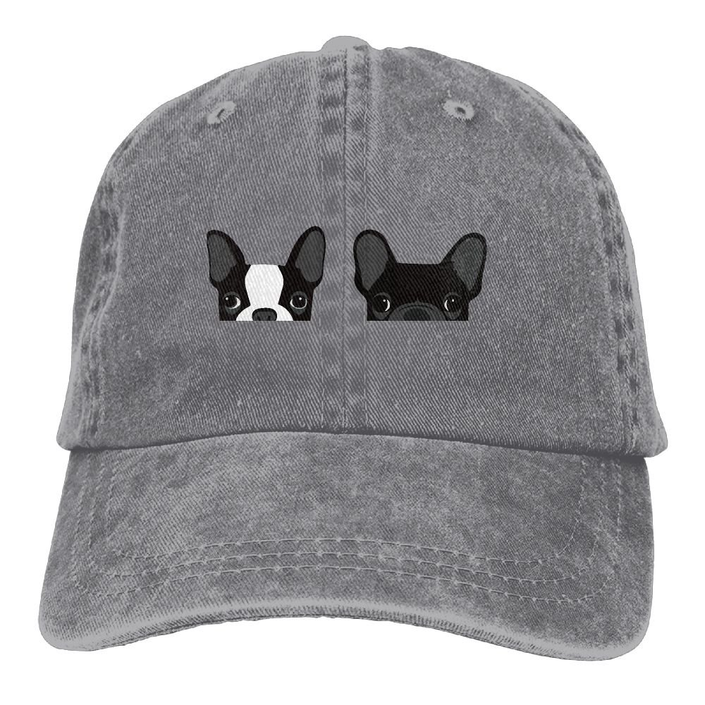 988eb21f54a Amazon.com  MNBHat Boston Terrier and French Bulldog Snapback Cotton Cap  Ash  Clothing