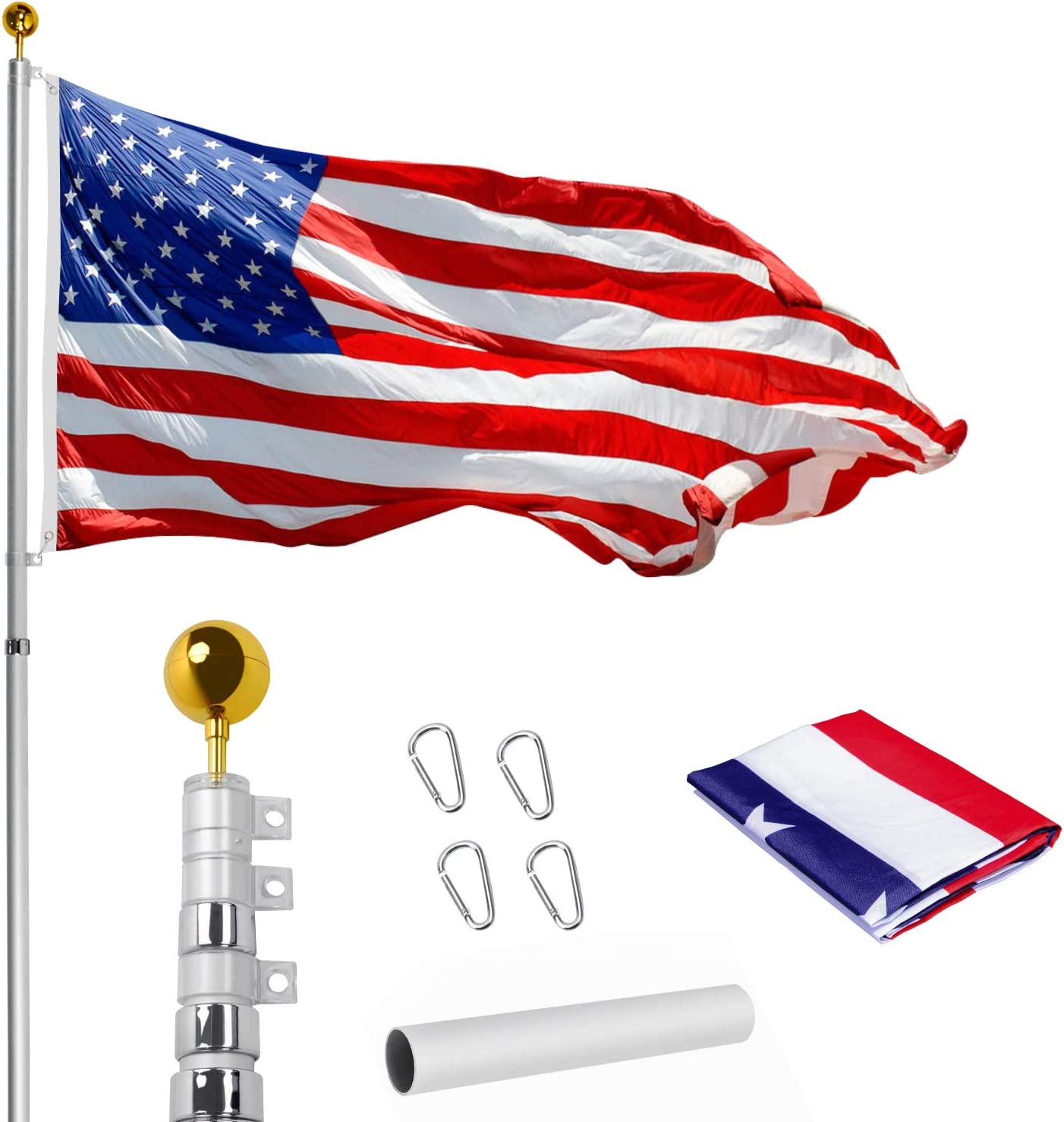 Amazon Com Wevalor 20ft Telescoping Flag Pole Kit Heavy Duty 16 Gauge Aluminum Outdoor In Ground Flag Poles With 3x5 Usa Flag For Residential Or Commercial Silver Garden Outdoor