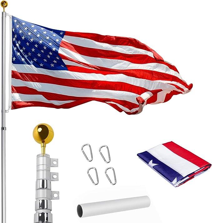 WeValor 20FT Telescoping Flag Pole Kit