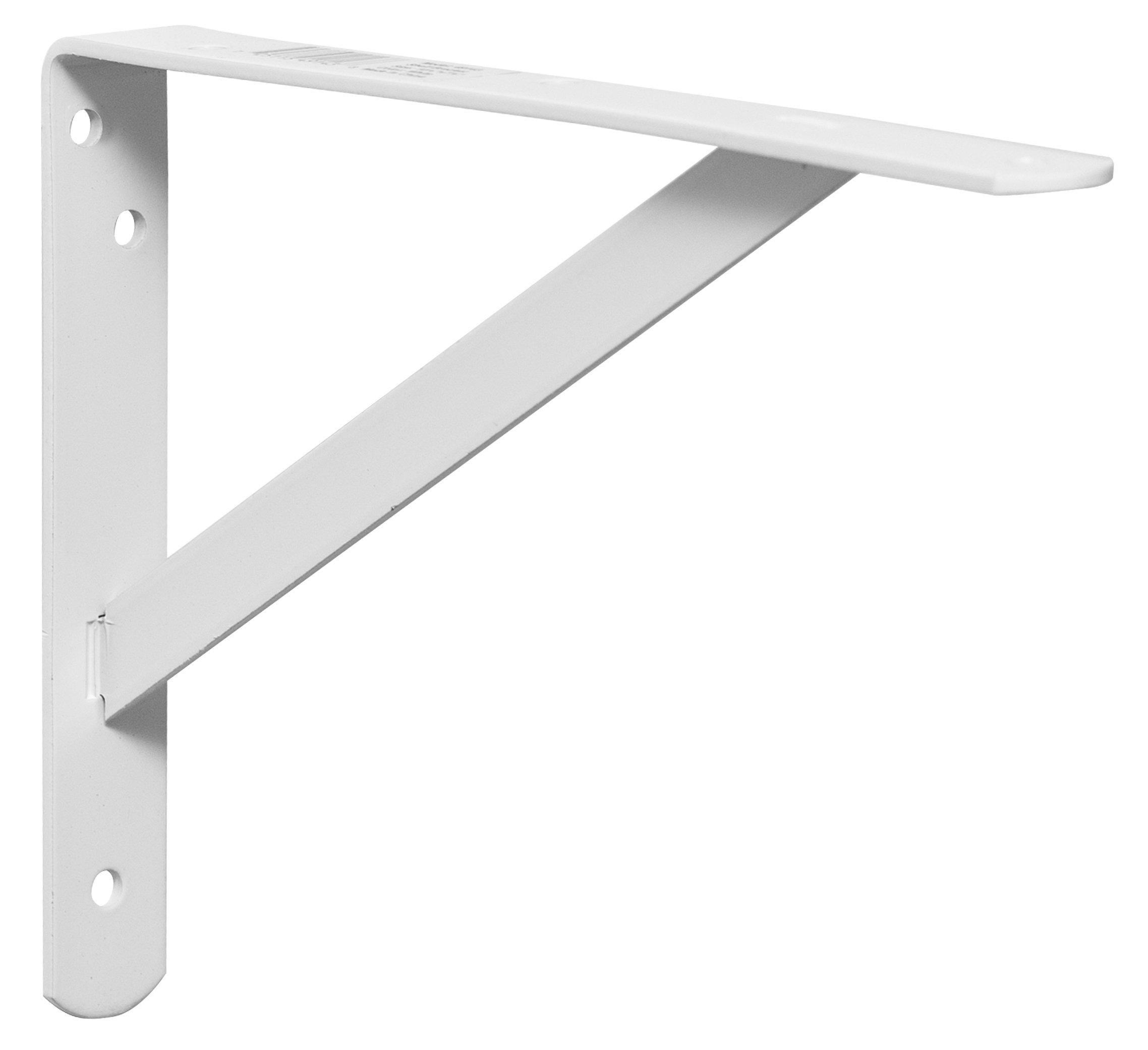 Decko 49143 Heavy Duty Shelf Bracket, 10.5-Inch by 7.5-Inch, White, 10-Pack