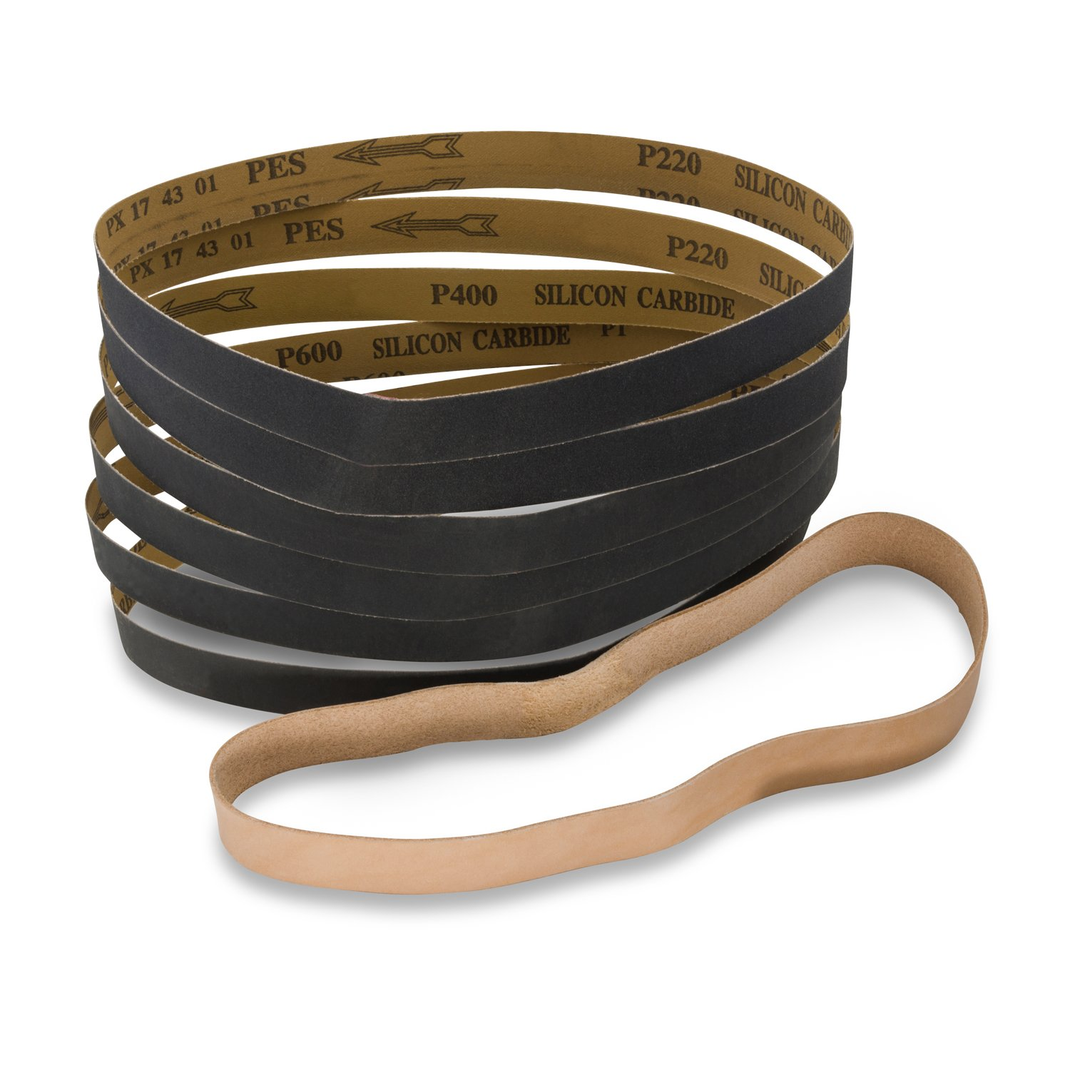 1 X 30 Inch Silicon Carbide Sanding Belts - 180, 220, 320, 400, 600, 800 Grit - 12 Pack Assortment with Leather Strop Belt by Red Label Abrasives