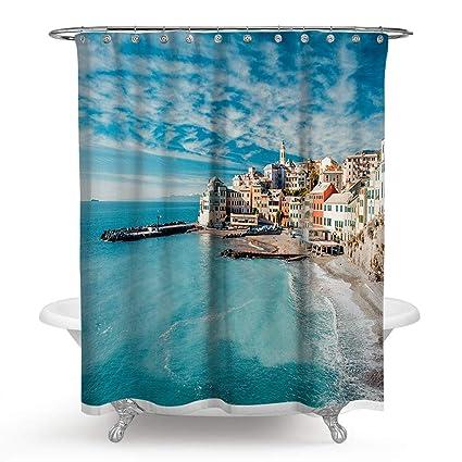 Amazon Roslynwood Mediterranean Sea Shower Curtain Village In
