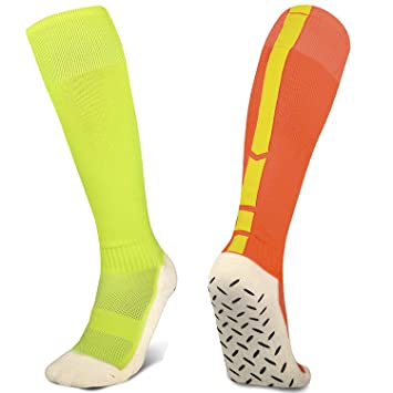 02c38aa64 2/3 Pack Mens Athletic Soccer Socks Anti Slip Knee High Sport Tube Socks  with Grips Size 5-12 (Orange+Green(2Pairs)), Socks - Amazon Canada