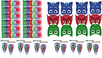 PJ Masks 0481, Pack Invitados Fiestas y Cumpleaños, 12 caretas ...