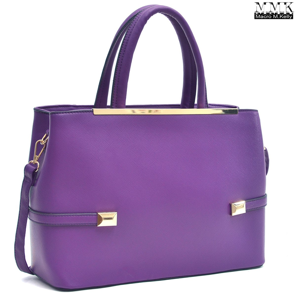 MMK Collection Women Solid Color Large Size PU Leather Simple Concise Business Style(8895N) with Gold Tone Framed Tote Bag Top Handle Bag Handbag with Shoulder Strap (Purple) by Marco M. Kelly