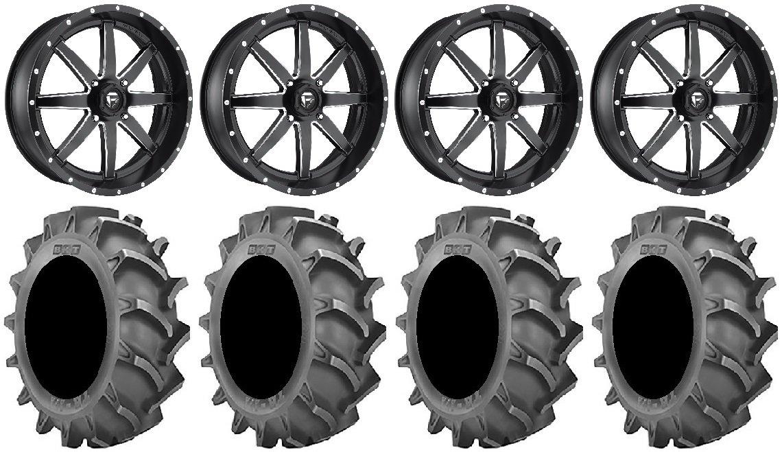 Bundle - 9 Items: Fuel Maverick Black 22'' Wheels 37x8.3 BKT 171 Tires [4x137 Bolt Pattern 12mmx1.25 Lug Kit]
