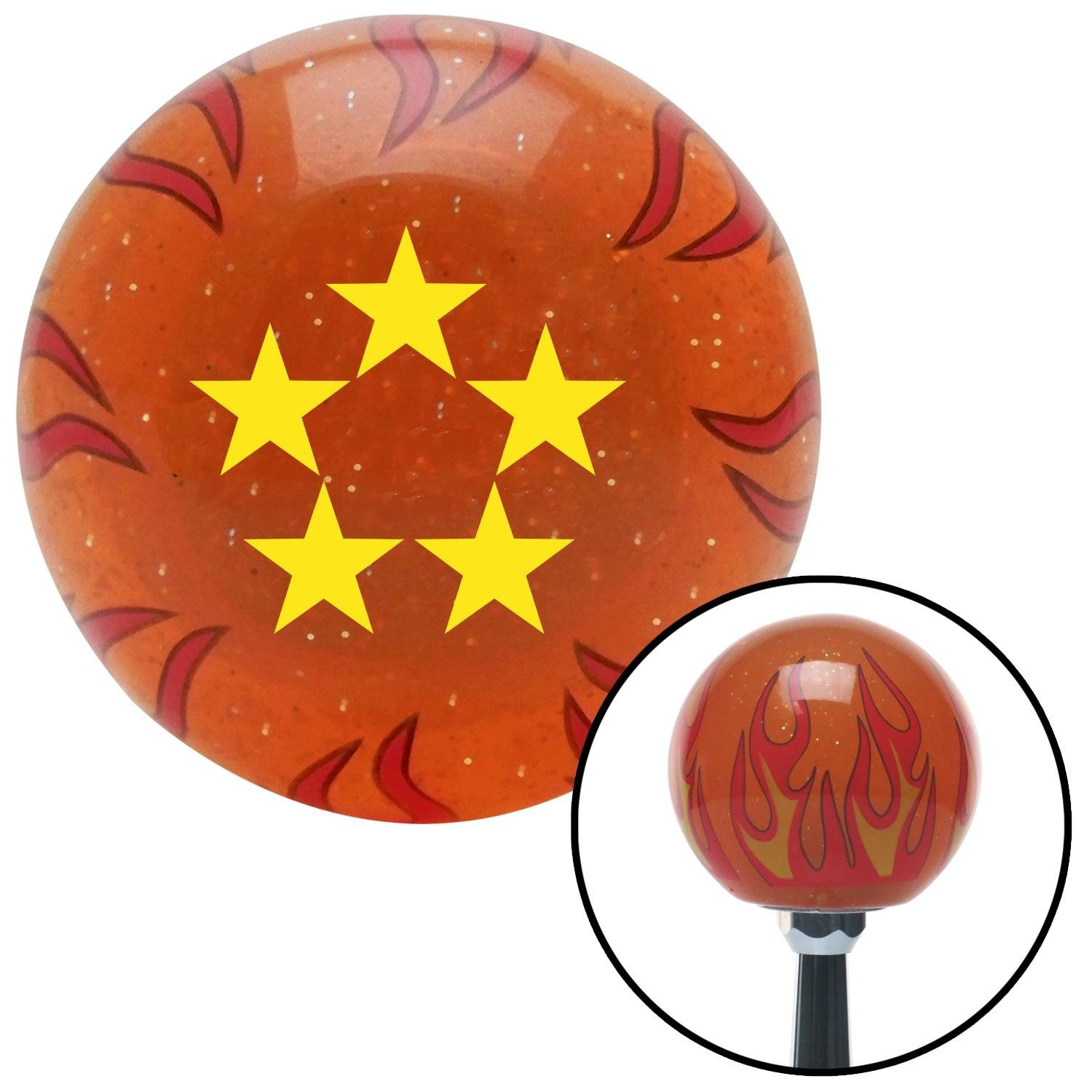 American Shifter 257843 Orange Flame Metal Flake Shift Knob with M16 x 1.5 Insert Yellow Fleet Admiral