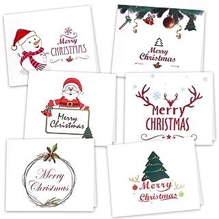 Kuuqa 36 Pezzi Cartoline di Natale con 36 buste e 36 adesivi (6 disegni)