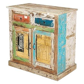 Kommode Anrichte Sideboard Fureso Vintage Bunt Recyclingholz